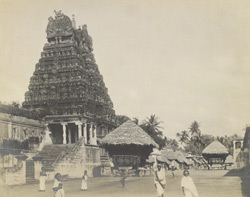 Perspective view from the south-west, including raths, etc., Jambukesvaraswami Temple [Jambukeshvara Temple], Tiruvanaikoil [Srirangam], Trichinopoly District
